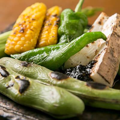 季節野菜の炭火焼き盛り合わせ